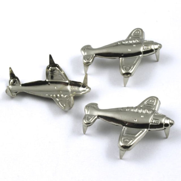 25mm Silver Airplane Stud (4 Pcs) #121