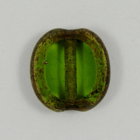 10mm Olivine/Bronze Table Cut Oval Bead