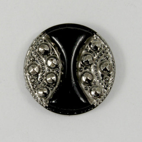 13mm Black and Silver Vintage Glass Cabochon #XGF015-General Bead