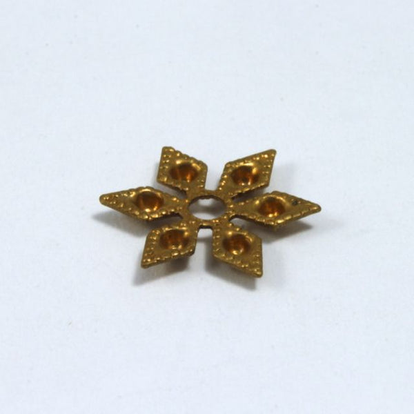 12mm Vintage Raw Brass Six Point Star Filigree