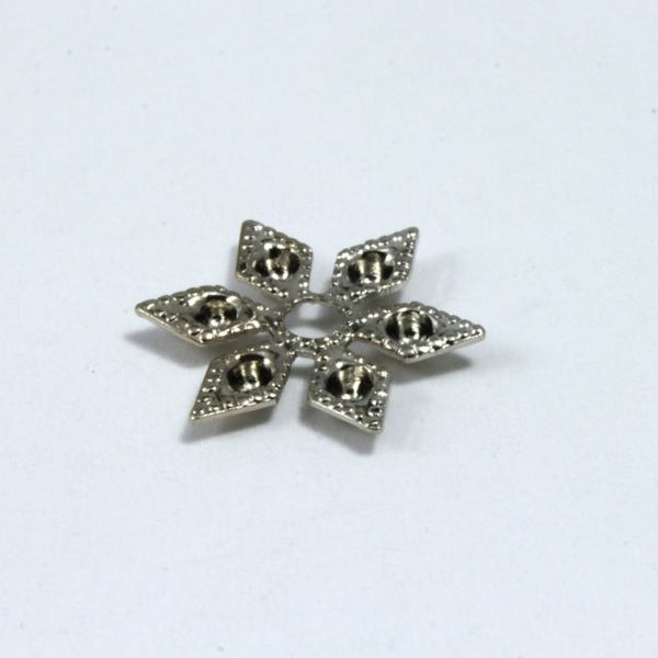 12mm Vintage Silver Six Point Star Filigree #1301