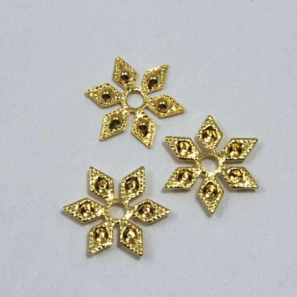 12mm Vintage Gold Six Point Star Filigree