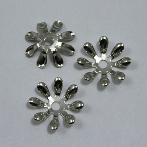 15mm Vintage Silver Eight Petal Flower Filigree