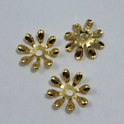 15mm Vintage Gold Eight Petal Flower Filigree