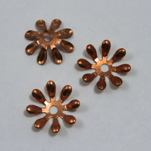 15mm Vintage Copper Eight Petal Flower Filigree
