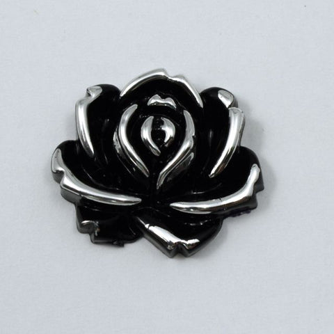 25mm Black and Silver Rose-General Bead