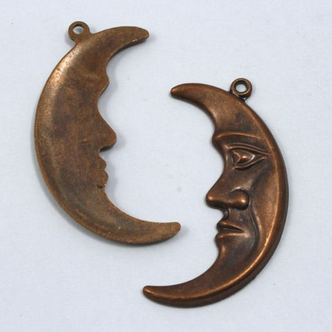 30mm Raw Brass Crescent Moon Face