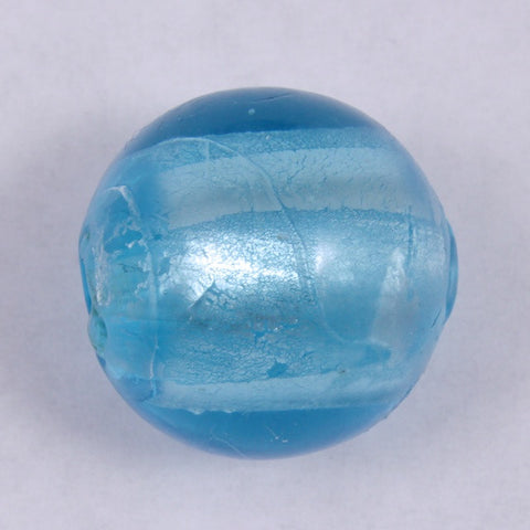 20mm Handmade Silver Lined Aqua Glass Bead #1354-General Bead