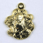 18mm Gold Maiden with Flowing Hair (2 Pcs) #136-General Bead
