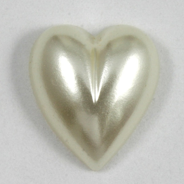 14mm White Luster Pearl Heart Cabochon