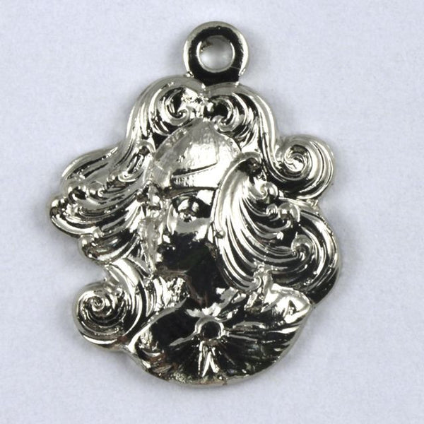 "5/8"" Silver Maiden with Flowing Hair"