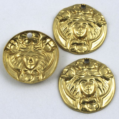 16mm Raw Brass Art Noveau Face