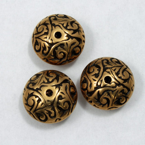 15mm Ornate Bronze/Black Rondelle-General Bead