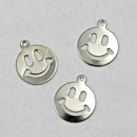 9mm Silver Smiley Face (10 Pcs) #1408-General Bead