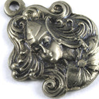 18mm Antique Silver Maiden with Flowing Hair (2 Pcs) #140-General Bead