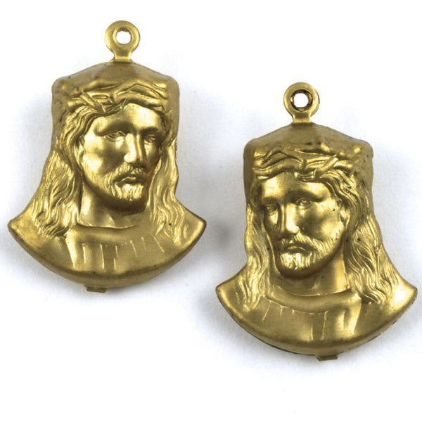 25mm Raw Brass Jesus with Crown of Thorns