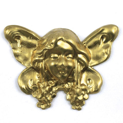 33mm Gold Art Nouveau Fairy Face Charm