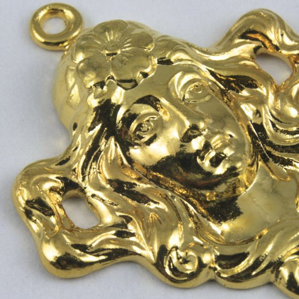 25mm Gold Maiden with Flowing Hair Charm