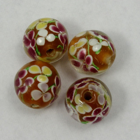 16mm Topaz Glass Bead with Flowers (2 Pcs) #1467-General Bead