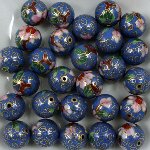 14mm Blue Cloisonné Bead (2 Pcs) #1501-General Bead