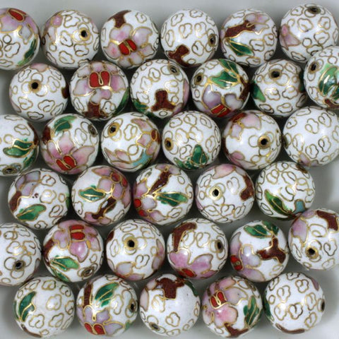 14mm White Cloisonné Bead-General Bead
