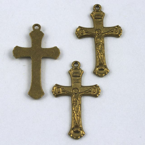 22mm Raw Brass Crucifix #150-General Bead