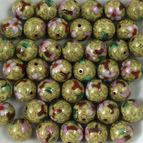 12mm Cream Cloisonné Bead (2 Pcs) #1514-General Bead