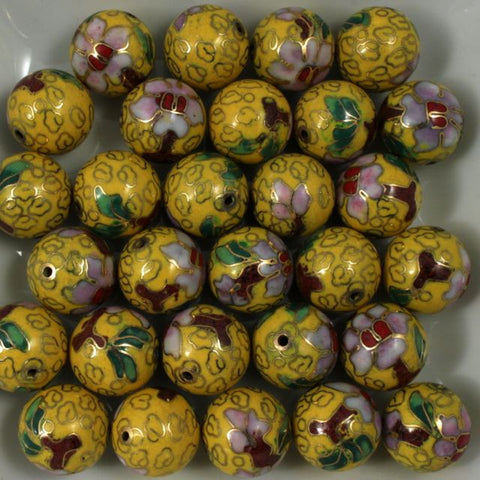 14mm Yellow Cloisonné Bead