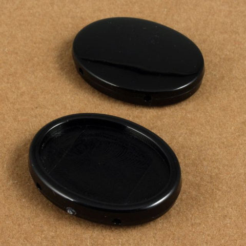 25mm Black Oval Lucite Cab Setting