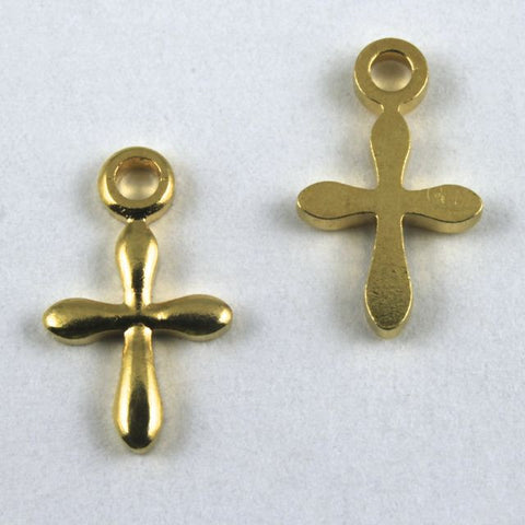 11mm Gold Plated Cross (8 Pcs) #152-General Bead