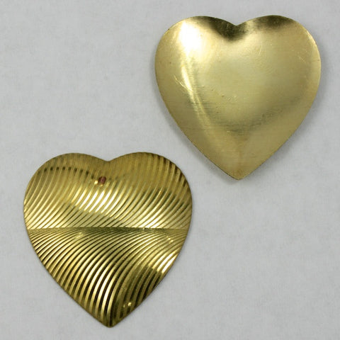 30mm Brass Moire Heart #1541-General Bead
