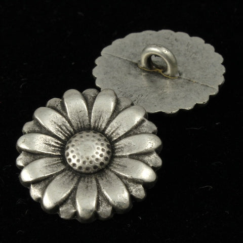 Antique Silver Daisy Button (2 Pcs) #1554-General Bead