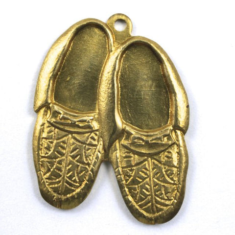 22mm Brass Pair of Moccasins Charm (2 Pcs) #157-General Bead
