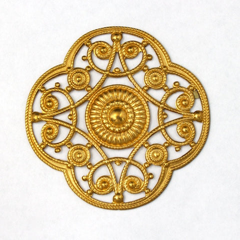 42mm Brass Filigree Quatrefoil (2 Pcs) #1596-General Bead