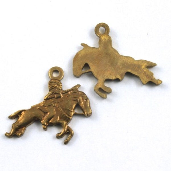 16mm Raw Brass Galloping Horse with Rider