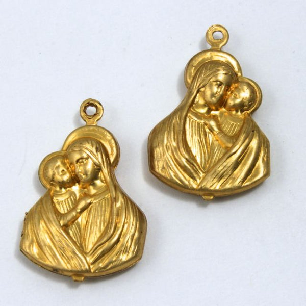 24mm Raw Brass Double-sided Madonna with Child #1612