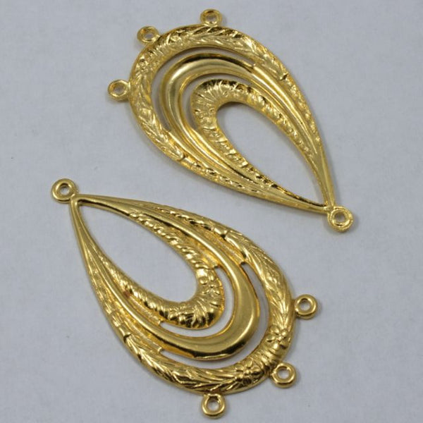 45mm Gold Floral Teardrop Hoop