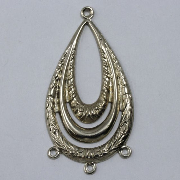 45mm Silver Floral Teardrop Hoop (2 Pcs) #1689