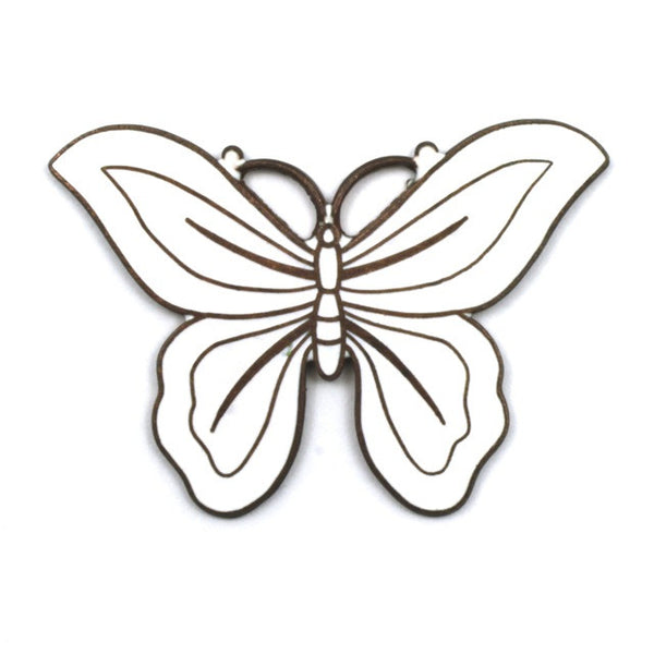 45mm White Enamel Butterfly