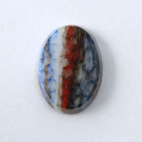 14mm Red and Blue Stripe Oval Cabochon #1720
