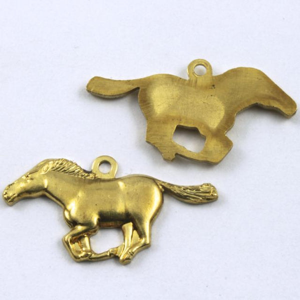 22mm Raw Brass Running Horse
