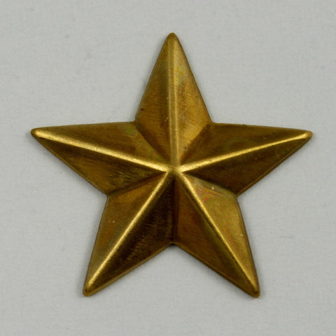 18mm Raw Brass Five Point Raised Star (4 Pcs) #1754-General Bead