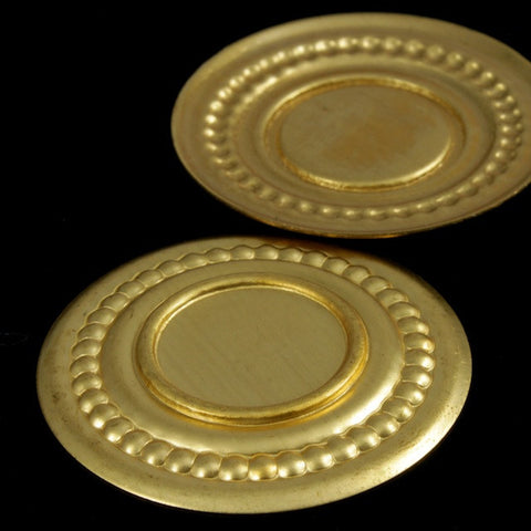 30mm Brass Beaded Round Cab Setting #1765