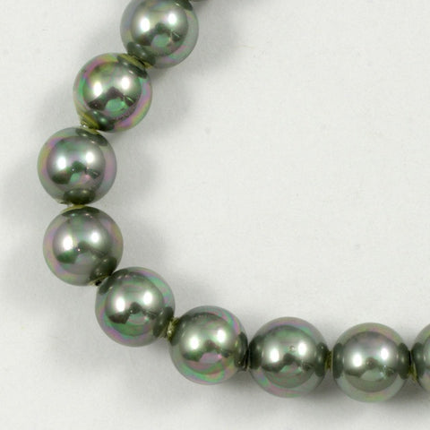 6mm Iridescent Grey Glass Pearl #1786