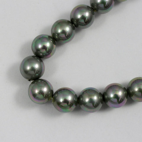 8mm Iridescent Grey Glass Pearl #1787