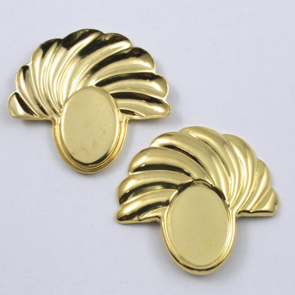 37mm Vintage Gold Deco Swirl Semi-Circle