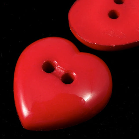 18mm Vintage Lucite Heart Button-General Bead