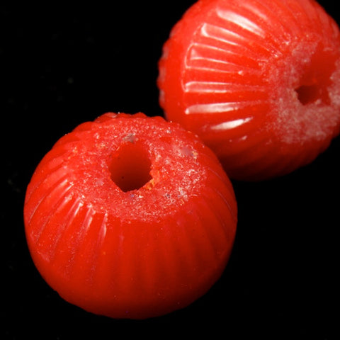 8mm Red Corrugated Bead (4 Pcs) #1858-General Bead