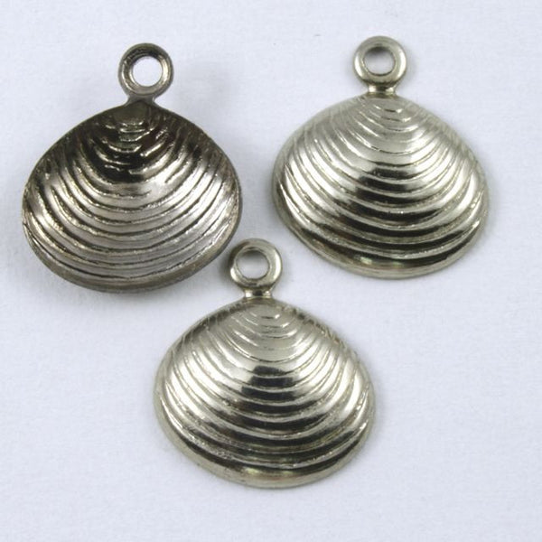 10mm Antique Silver Clamshell
