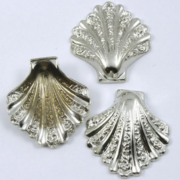 28mm Silver Stylized Scallop Shell